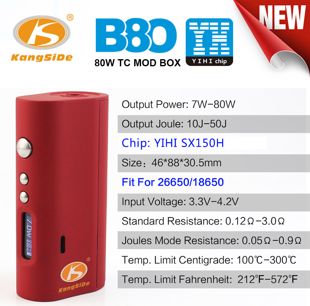 Original Kangside KSD B80 TC Box Mod with YIHI SX150H Chip / Supporting 26650 / 18650 Battery / 80W E Cigarette Vape Mod