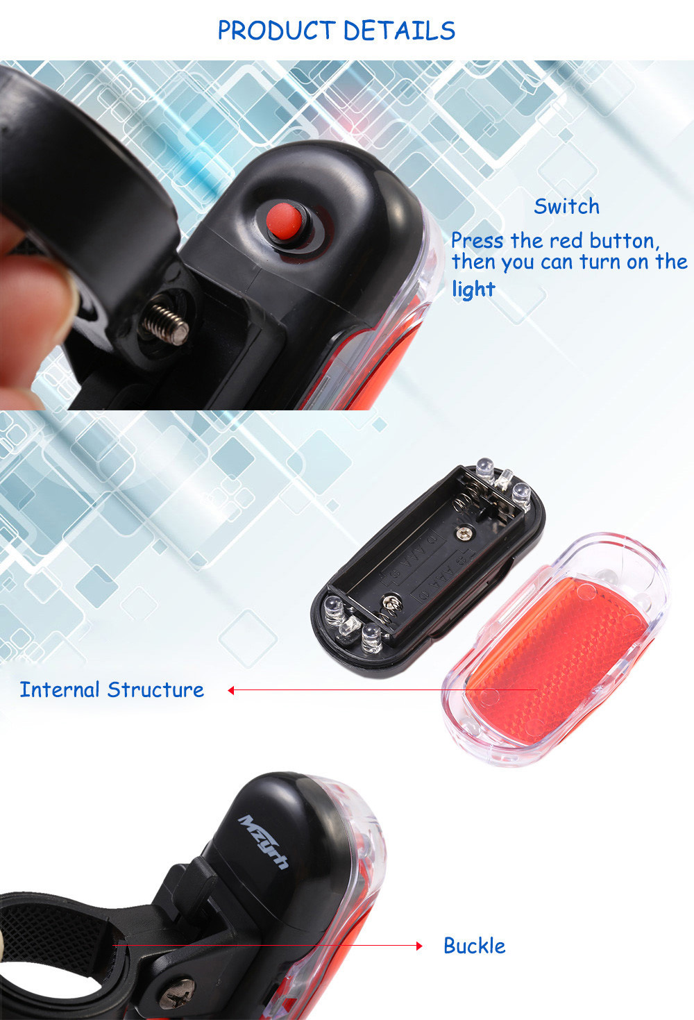 MZYRH B Fashionable LED Bicycle Tail Light