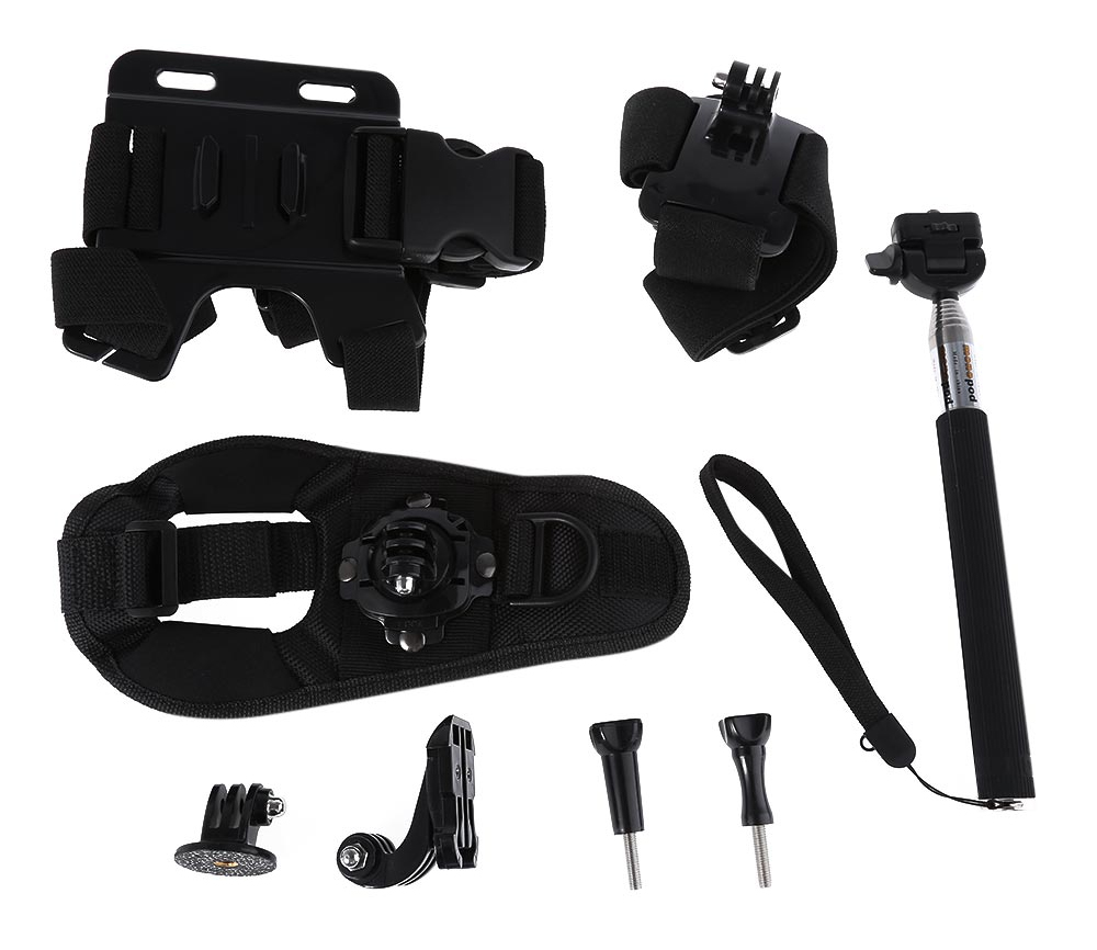AT263 8 in 1 Accessory Kits for Action Camera with Chest Strap / Headband / 360 Degrees Rotatable Hand Band / Monopod