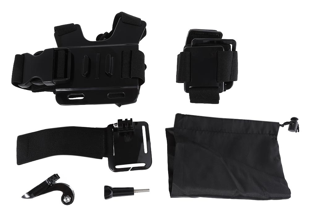 AT263 - 1 5 in 1 Accessory Kits for Action Camera with Chest Strip / Headband / Wrist Strap / J-shaped Mount