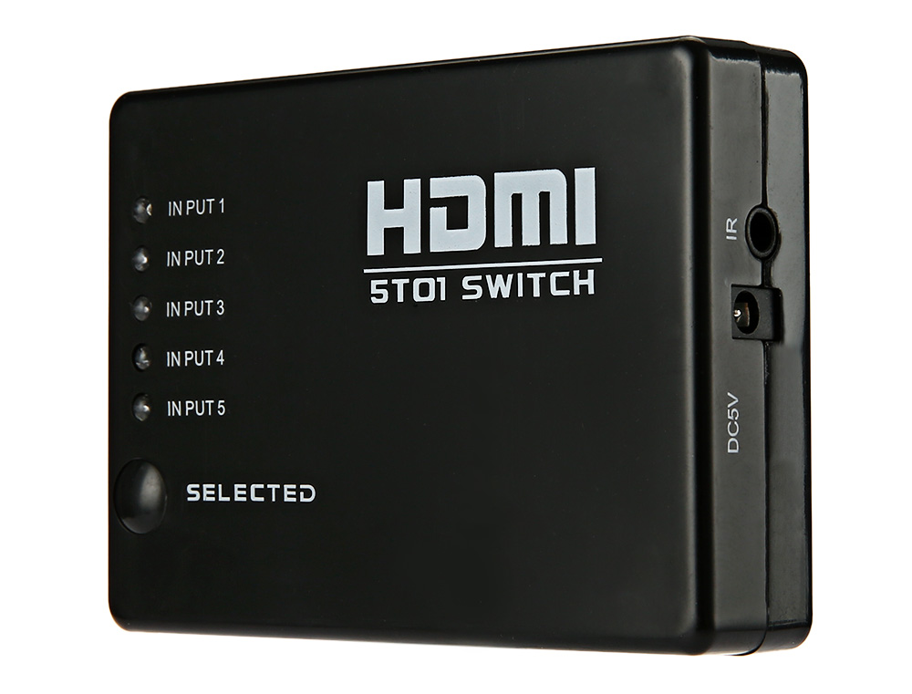 Utility Full HD 1080P 5 Ports HDMI Switch Switcher Selector Splitter Hub with Remote Control for HDTV PS3
