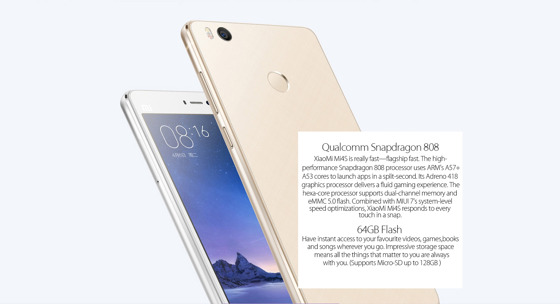 XiaoMi Mi4S 5.0 inch Android 5.1 4G Smartphone Snapdragon 808 64bit Hexa Core Fingerprint ID 3GB RAM 64GB ROM 13.0MP + 5.0MP Cameras Quick Charge Type-C
