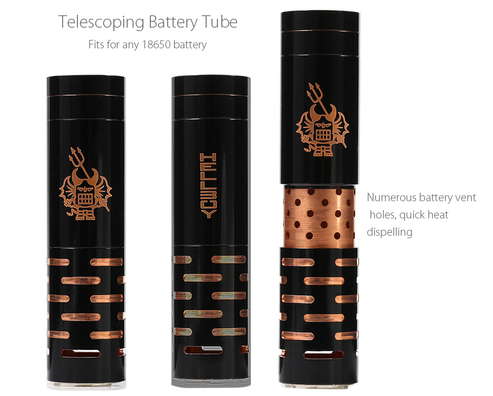 Original Vaportech Hellboy Mechanical Mod with Telescopic Battery Tube / Adjustable Silver-plated Copper Top Contact for E Cigarette