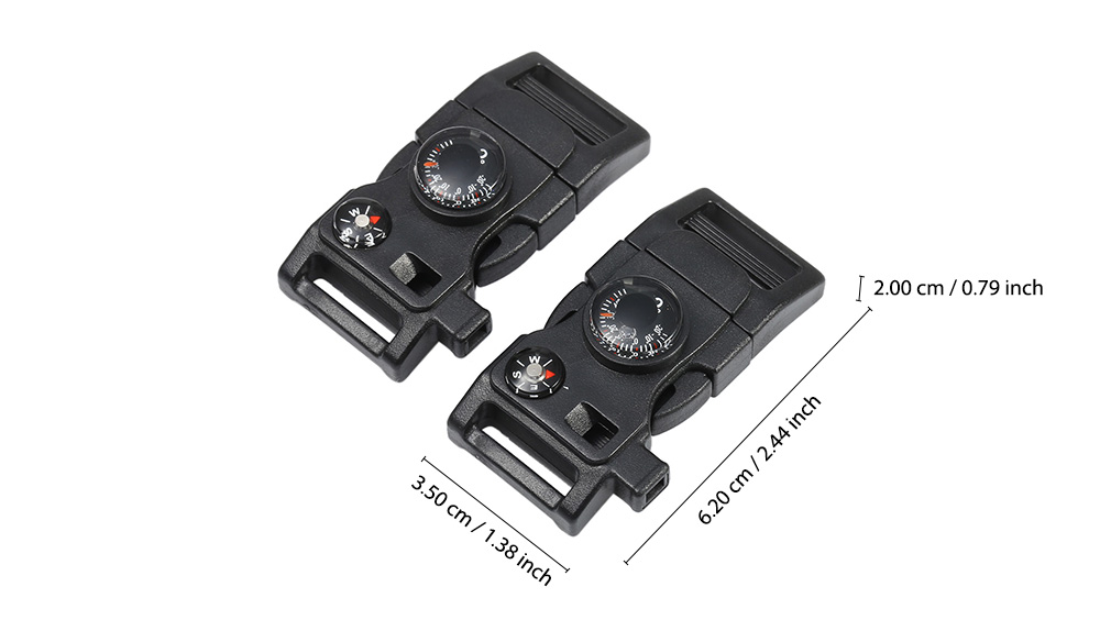 2PCS Practical Survival Tool Fire Starter with Whistle Compass Scraper Thermometer