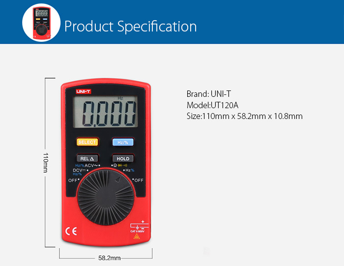 UNI - T UT120A Pocket Digital Multimeter Measuring Tool