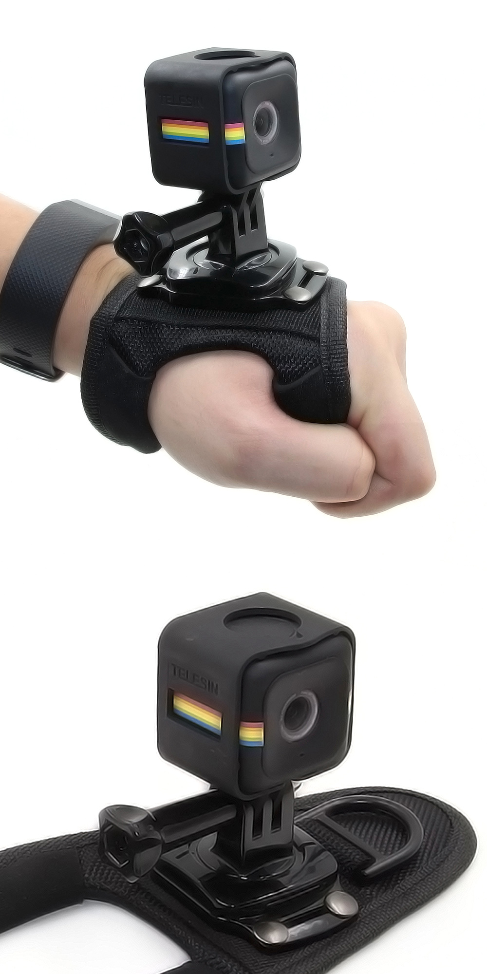 TELESIN Hand Band with Cage Housing for Polaroid Cube / Cube+ Action Camera
