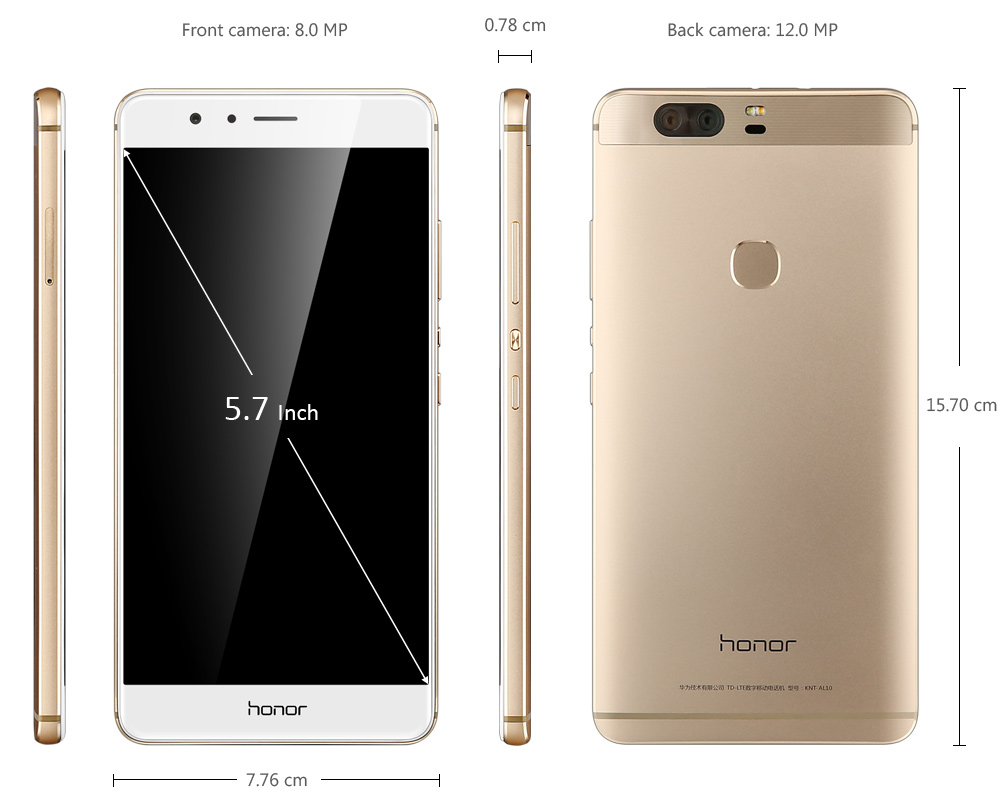 Huawei Honor V8 EMUI 4.1 5.7 inch 4G Phablet Kirin 950 Octa Core 2.3GHz 4GB RAM 32GB ROM Dual Rear Camera Fingerprint Scanner GPS Bluetooth 4.2