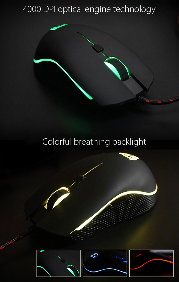 Motospeed V40 Professional USB Wired Gaming Mouse with LED Backlit Display