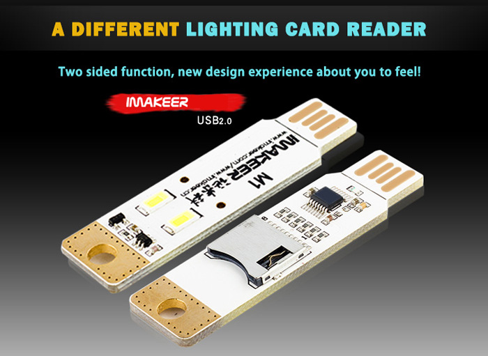 IMAKEER M1 Lighting Card Reader with TF / Micro SD Card Slot ( Max 2TB ) Warm White