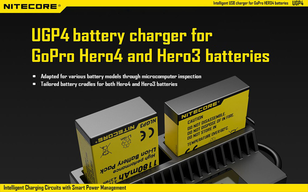 Nitecore UGP4 USB Battery Charger for GoPro AHDBT - 201 / 301 / 401 Batteries