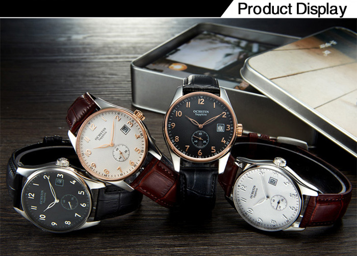 OCHSTIN Simple Fashion Male Quartz Watch with Hollow Pointer Small Dial