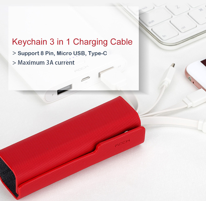 Rock RCB0449 Portable Keychain Style USB Charging Cable Combo with 8 Pin Micro USB Type-C Connector