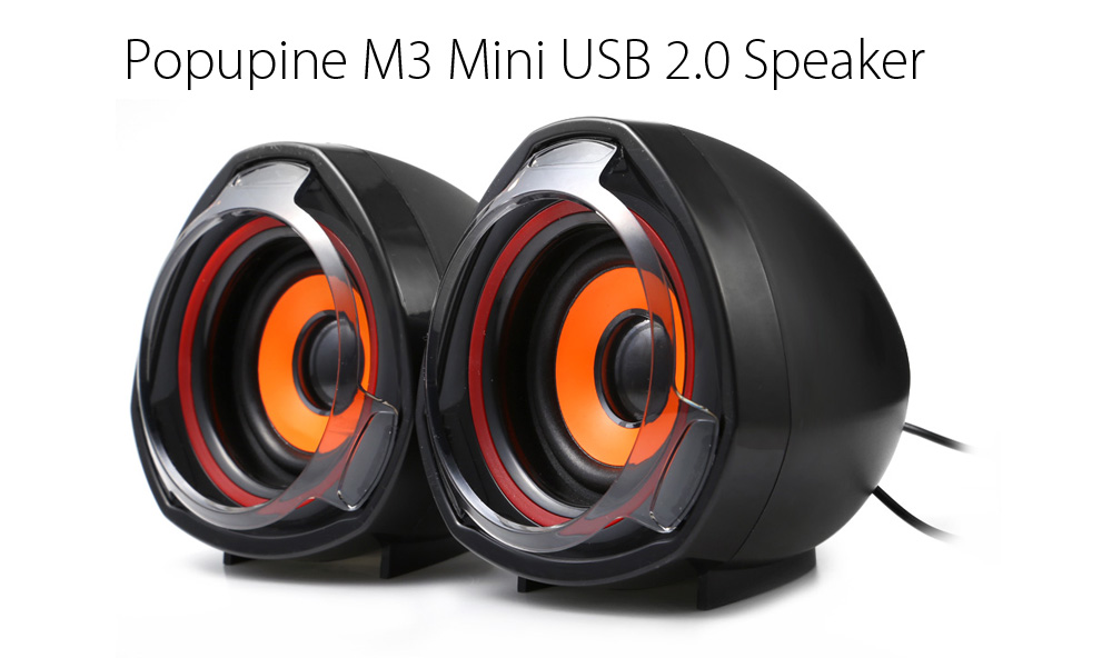 Popupine M3 Mini USB 2.0 Speaker with 3.5mm Audio Cable
