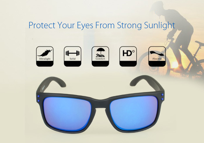 SENLAN 9001 Sunglasses Black Frame Blue Rivet PC Lens