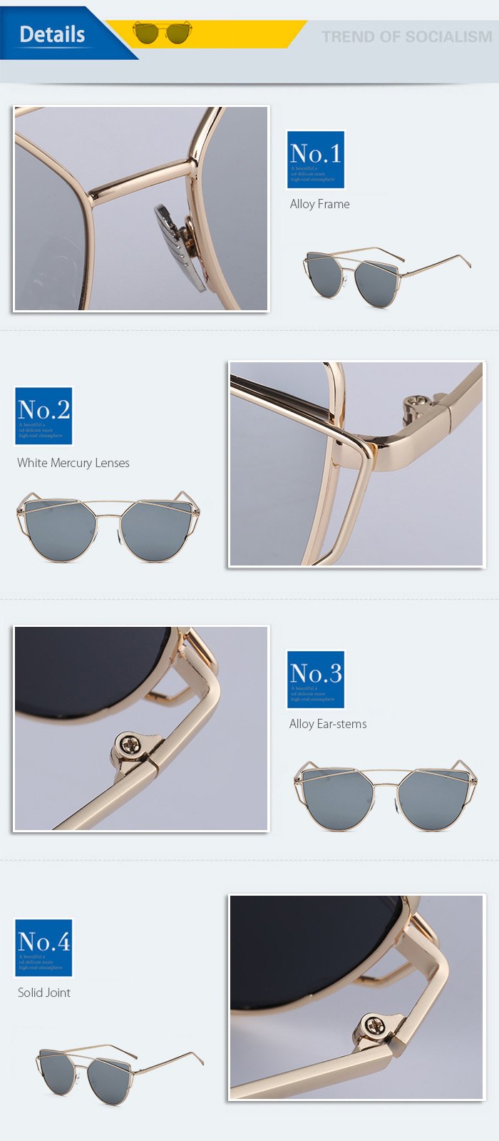 SENLAN 2223C8 Sunglasses Golden Frame PC Lens