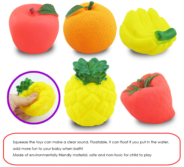 5pcs Lovely Fruit Shape Bath Squeeze Shower Toy for Kid Infant