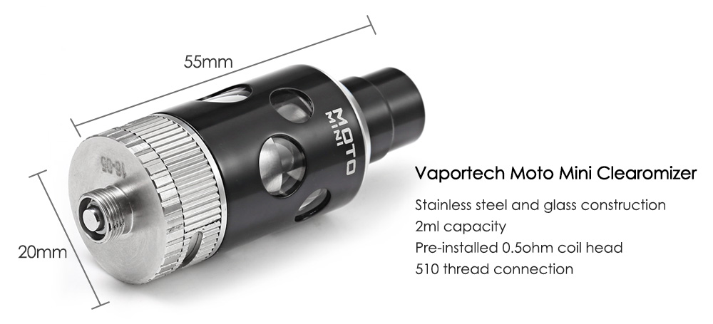 Original Vaportech Moto Mini Starter Kit with 1100mAh / 3.9V Battery / 2ml / 0.5ohm / 1.0ohm Tank Atomizer Clearomizer for E Cigarette