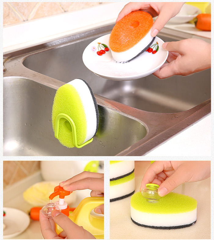 Practical Double Side Sponge Brush Cleaning Tool