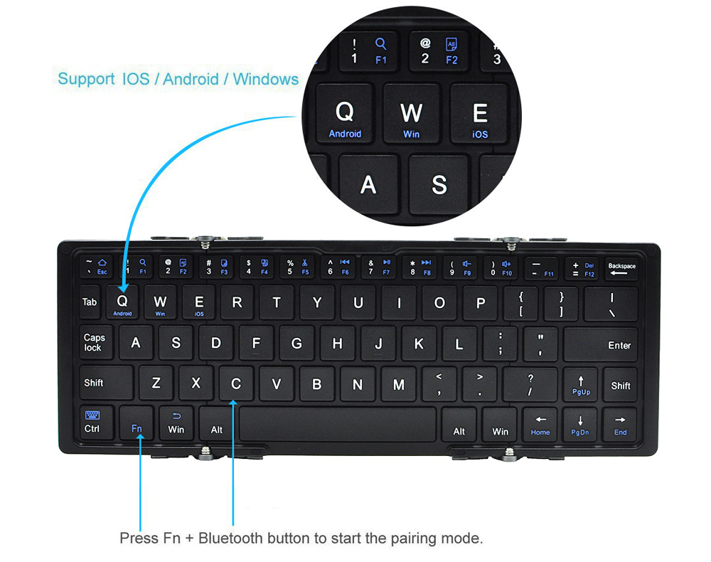 Old Shark BK066 Wireless Bluetooth 2.0 Keyboard with Foldable Function