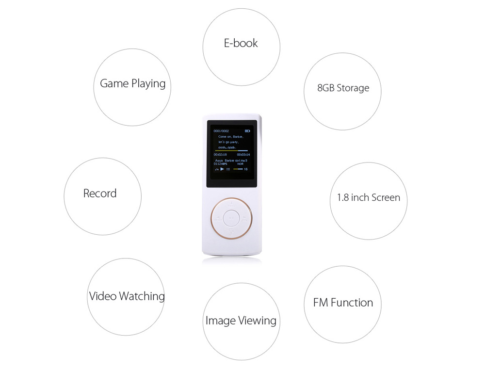 P4 Mini MP3 Stereo Player with 8GB FM