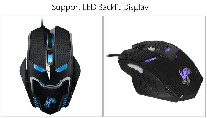 bEITRS X4 USB Wired Gaming Mouse Support LED Backlit Display