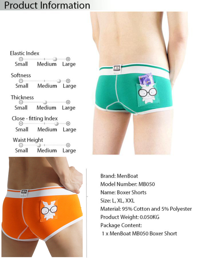 MenBoat MB050 Cartoon Printing Boxer Briefs Middle Waist Design