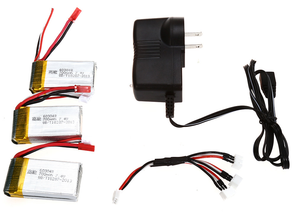 X601H - 002 3pcs 7.4V 700mAh Battery Charger Set for MJX X600 X601H RC Quadcopter