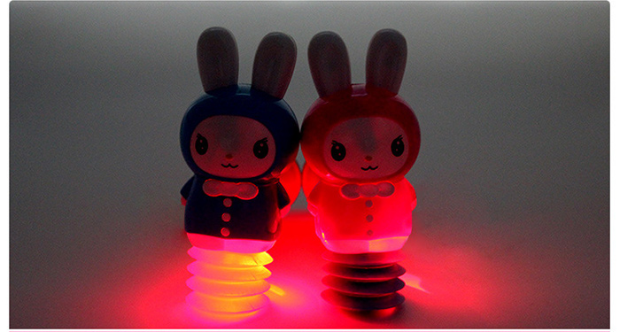 Cute Rabbit Music LED Light Hammer Stick Kid Toy Birthday Gift