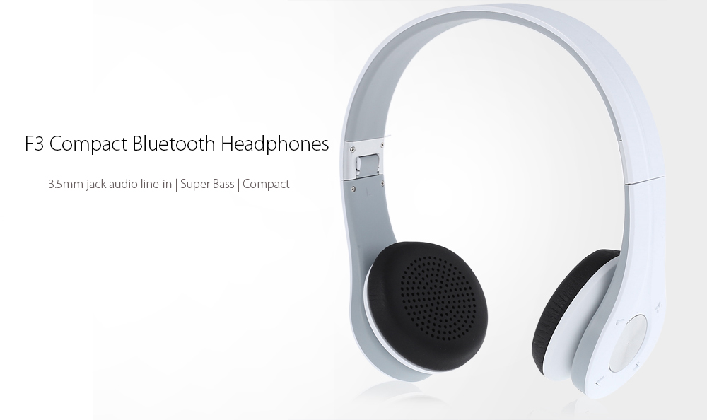 F3 Compact Stereo Bluetooth Headphones Foldable Design with 3.5mm Jack Line-in Function