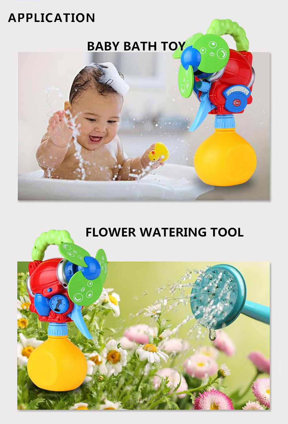 Lovely Fan Pattern Bath Shower Electric Water Spraying Toy for Kid