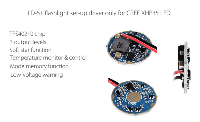 LD - 51 CREE XHP35 LED Step-up Driver for Flashlight