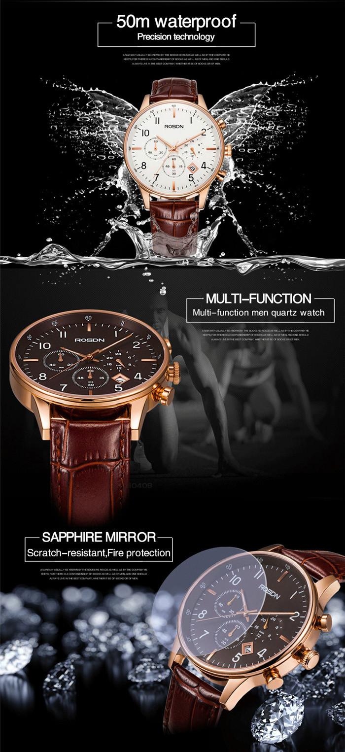 ROSDN Fashion Imported Movement Sports Quartz Watch for Men