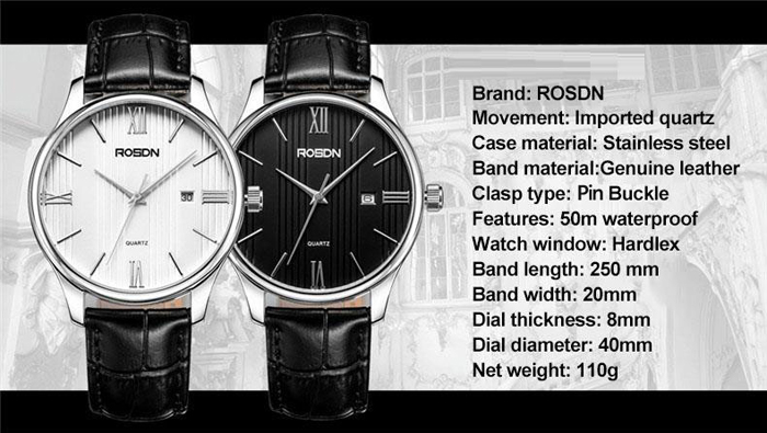 ROSDN Classic Business Style Imported Movement Quartz Watch for Men