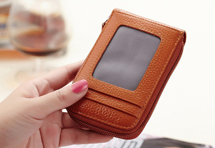 Classical Leather Man Wallet Card Holder with Zipper
