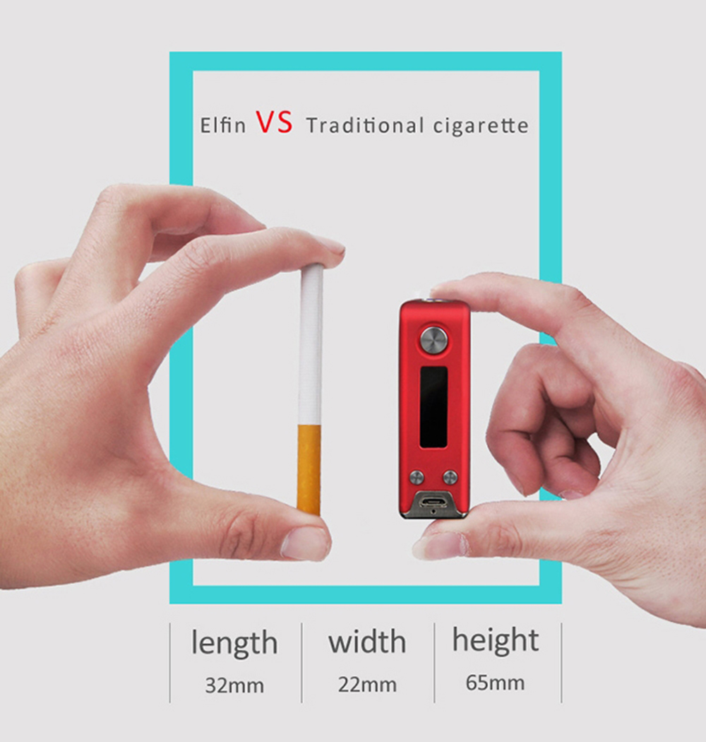Original S BODY Elfin DNA40 40W TC Mod Kit with Evolv DNA40 Chip / Built-in 1400mAh Battery / 2.0ml / 0.2ohm / 0.5ohm Coil Head Atomizer