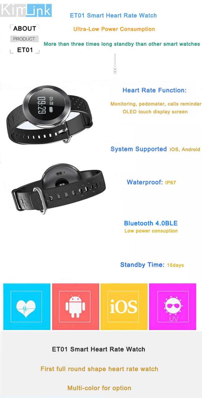 Kimlink ET01 Heart Rate Monitor Smart Watch with Remote Camera