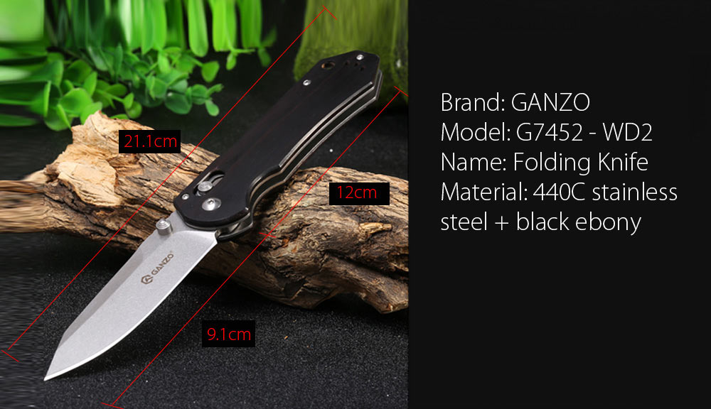 GANZO G7452 - WD2 Axis Lock Outdoor Folding Knife