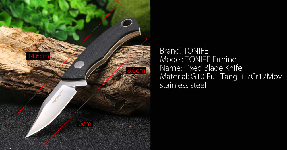 TONIFE Ermine Full Tang Knife with Leather Sheath