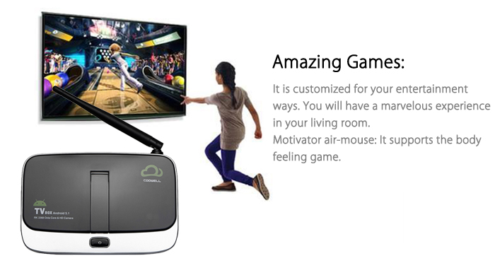 COOWELL V4 TV Box with Camera Android 5.1 H.265 Rockchip 3368 Octa-core 2GB DDR3 2.4G + 5G WiFi Bluetooth 4.0