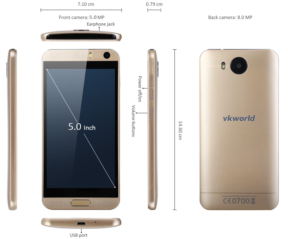 VKWORLD VK800X Android 5.1 3G Smartphone 5.0 inch Screen MTK6580 Quad Core 1.3GHz 1GB RAM 8GB ROM Dual Cameras GPS FM