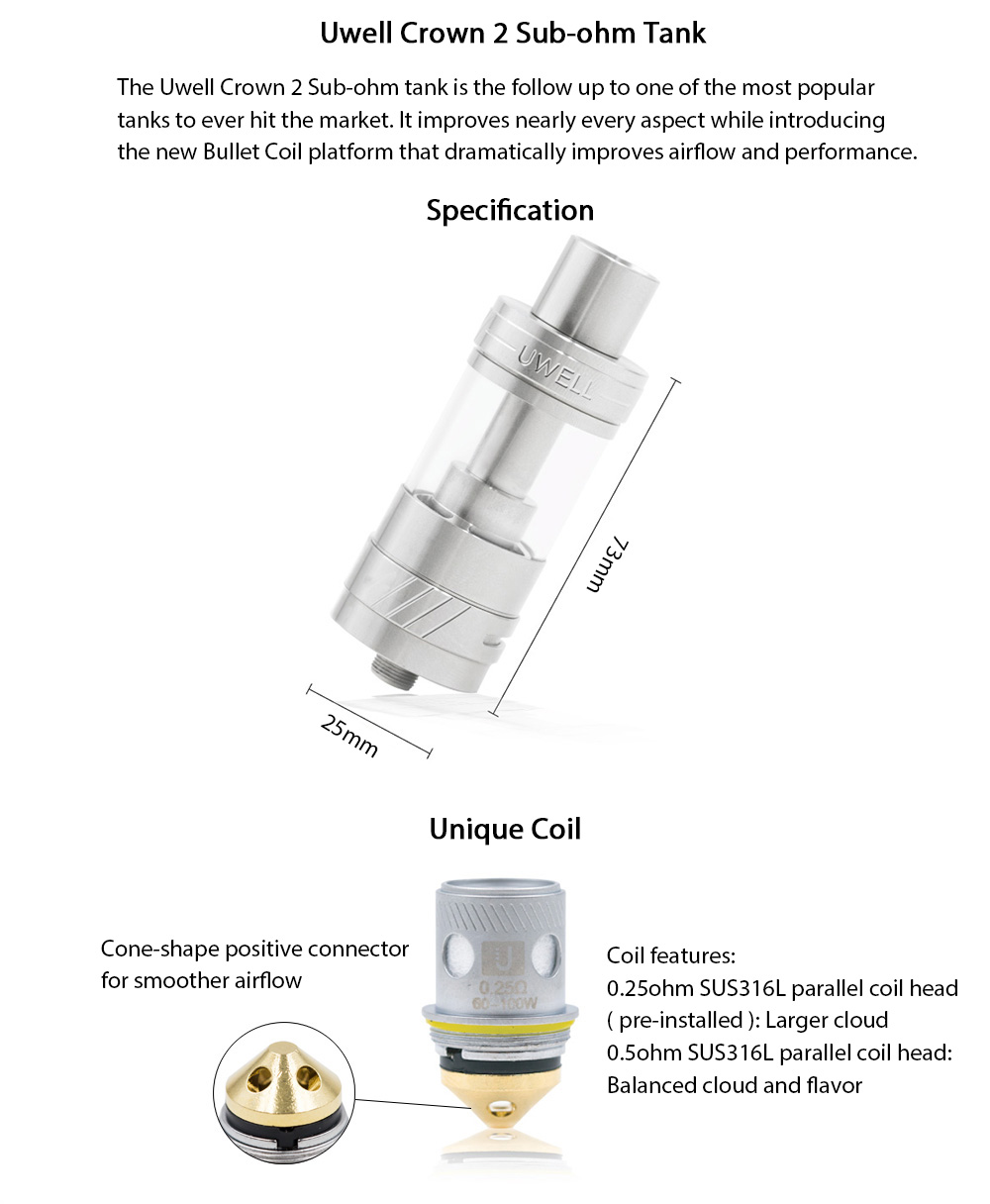 Original Uwell Crown 2 Sub-ohm Tank Atomizer Clearomizer with 5ml / 0.25ohm / 0.5ohm Conical SUS316L Parallel Coil Head / Tank Locking Screw for E Cigarette