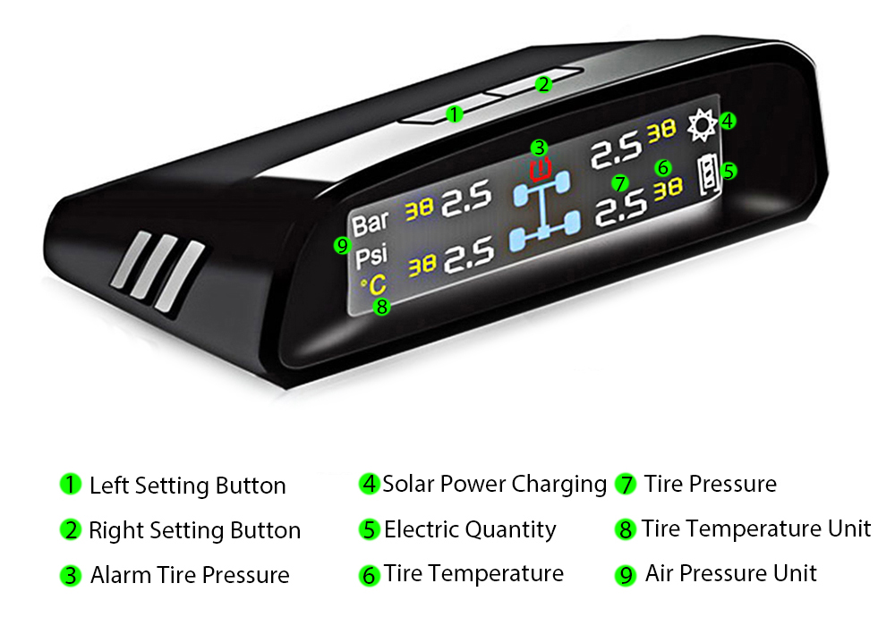 TN400 Solar Energy Wireless TPMS Tire Pressure Monitor Internal Sensor with Colorized Display Screen