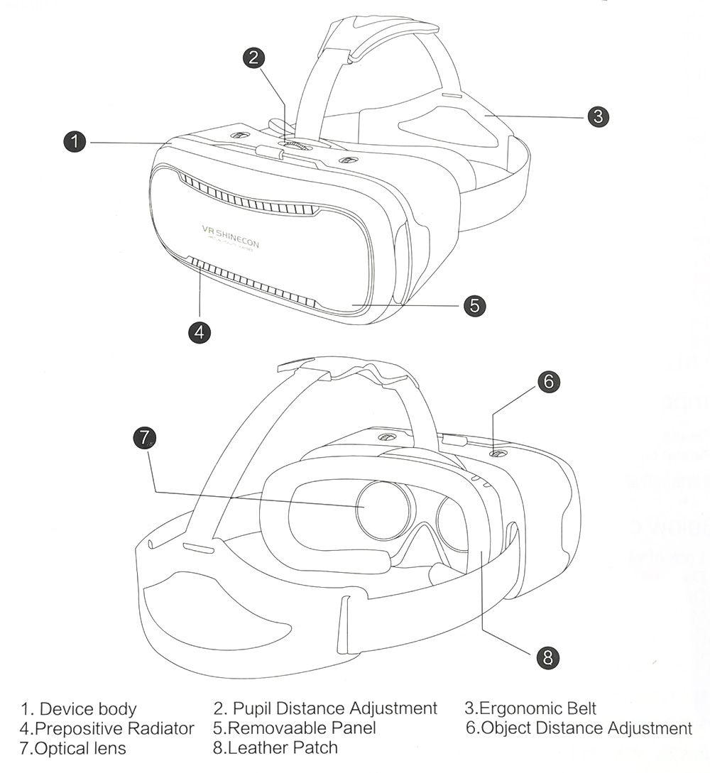 VR SHINECON II 3D Virtual Reality Head-Mounted Video VR Glasses for 4.7 - 6.2 inch Smartphones