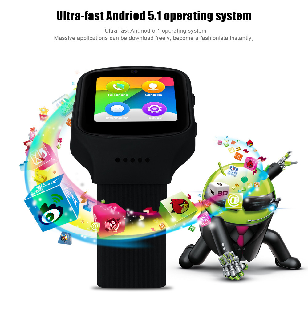 Z80 Android 5.1 1.54 inch 3G Smartwatch Phone MTK6580 Quad Core 1.3GHz 512MB RAM 4GB ROM Pedometer Hearth Rate Measurement 2.0MP Camera WiFi