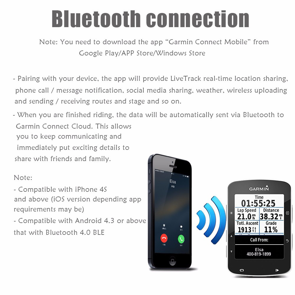GARMIN Edge 520 Bicycle Computer Bluetooth Smartphone Connectivity Function
