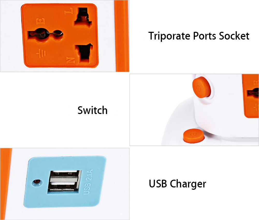 XINGNIU Charging Socket with 2 USB Charger + 3 Triporate Ports