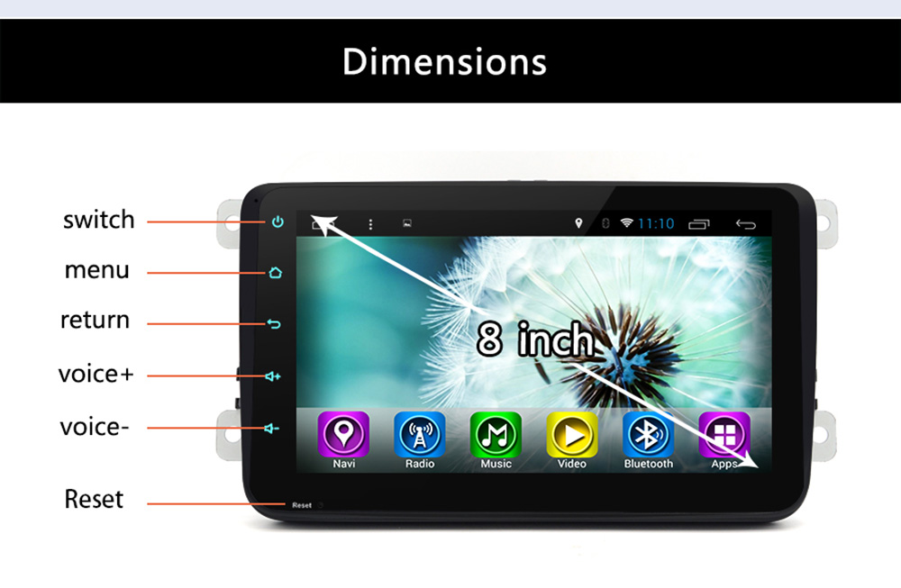Junsun R168S Android 4.4 8 inch Touch Screen 2 Din Car Media Player Support GPS FM Transmitter AM Radio Bluetooth Function with Rearview Camera