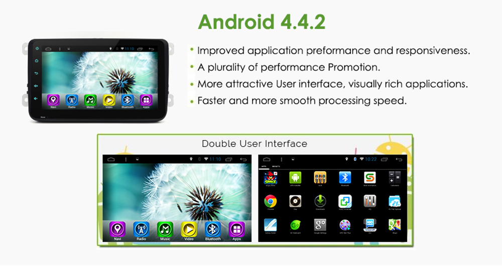 Junsun R168 Android 4.4 8 inch Touch Screen 2 Din Car Media Player Support GPS FM Transmitter AM Radio Bluetooth Function with Europe Map
