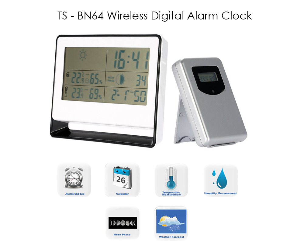 TS - BN64 Multi-functional RF Receiving Weather Station Clock Digital Indoor Outdoor Thermometer Hygrometer Calendar Moon Phase Display