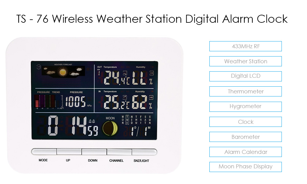 TS - 76 Multi-functional 433MHz Wireless Weather Station Digital LCD Thermometer Hygrometer Clock Alarm Barometer Calendar Moon Phase Display